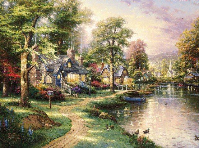 Рай мирное время мост в стоячей воде