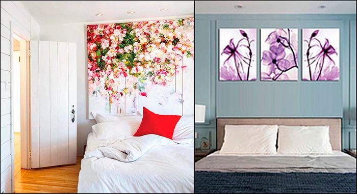 картины для спальни над кроватью